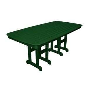 POLYWOOD Nautical 37 inch x 72 inch Green Plastic Outdoor Patio Dining Table by POLYWOOD