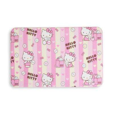HK Pink and Yellow 27.55 in. x 17.32 in. Double Sided PVC Kitchen Mat
