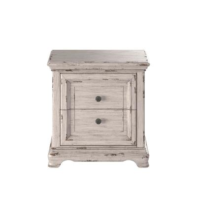 Providence 2-Drawer Antique White Nightstand 28 in. H x 24 in. W x 17 in. D