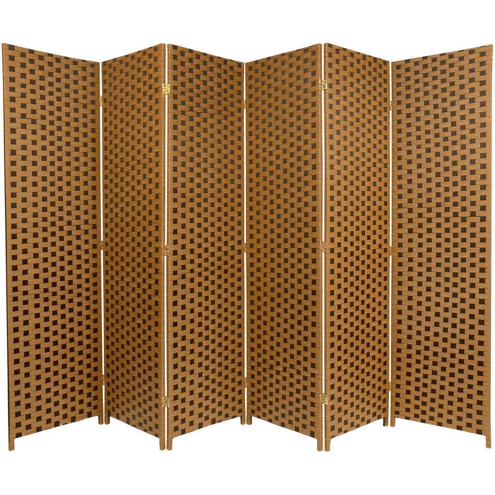 Room Dividers Home Accents The Depot Portable Dress Brown 2 Tone Woven Fiber 6 Panel Divider