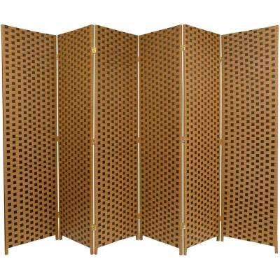 6 ft. Brown 2-Tone Woven Fiber 6-Panel Room Divider