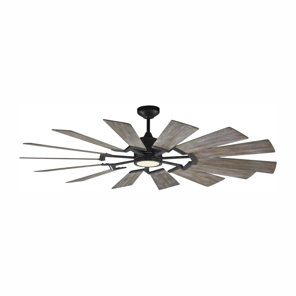 Monte Carlo Prairie 62 in. Integrated LED Indoor/Outdoor Aged Pewter Ceiling Fan with Light Kit and Light Grey Weathered Oak Blades