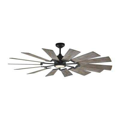 Prairie 62 in. Integrated LED Indoor/Outdoor Aged Pewter Ceiling Fan with Light Kit and Light Grey Weathered Oak Blades