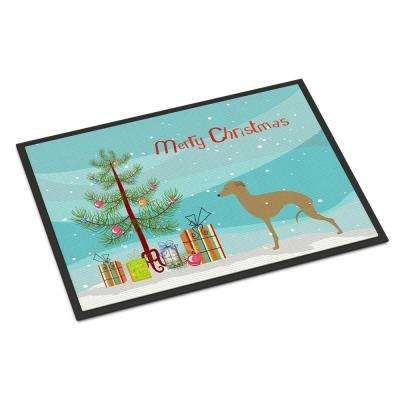 24 in. x 36 in. Indoor/Outdoor Italian Greyhound Merry Christmas Tree Door Mat