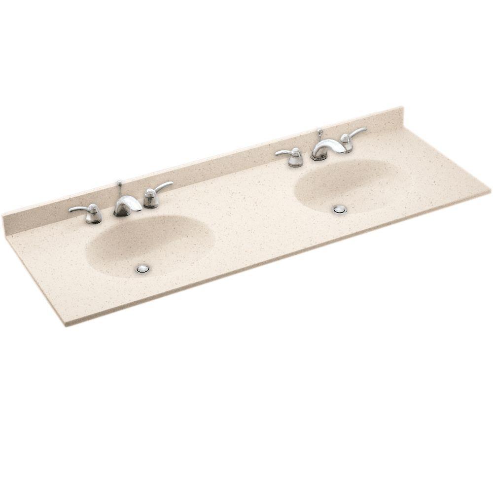 Bon Ellipse 61 In. W X 22 In. D Solid Surface Double Sink Vanity Top