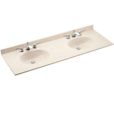 Ellipse 61 in. W x 22 in. D Solid Surface Double Sink Vanity Top in Tahiti Desert