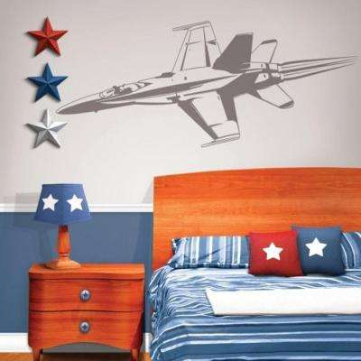 70 in. x 20 in. Jet Fighter Sudden Shadow Wall Decal