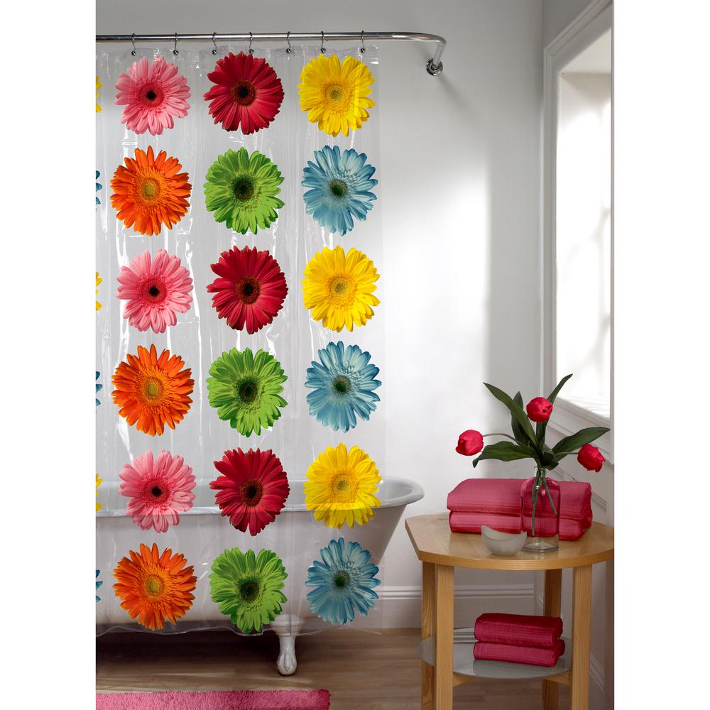 Maytex 70 in. x 72 in. Photoreal Gerber Daisy PEVA Waterproof Shower Curtain