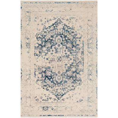 Theia Cream/Blue 7 ft. 10 in. x 10 ft. 3 in. Oriental Area Rug
