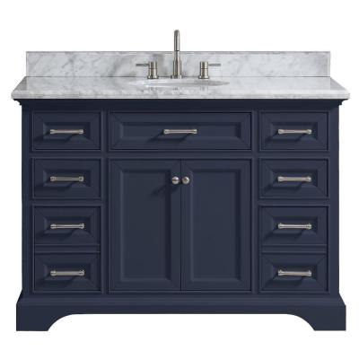 Windlowe 49 in. W x 22 in. D x 35 in. H Bath Vanity in Navy Blue with Carrara Marble Vanity Top in White with White Sink