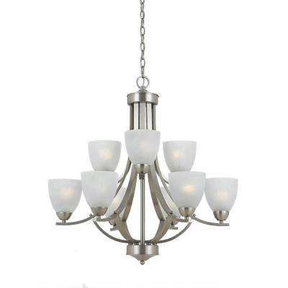 Lampu 9-Light Satin Nickel Chandelier