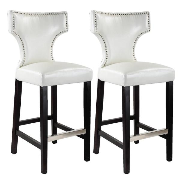 Kings 29 in. White Bonded Leather Bar Stool (Set of 2)