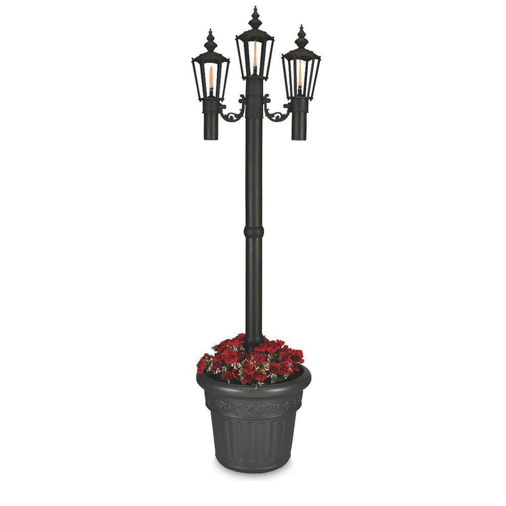 Patio Living Concepts Newport Park Style Citronella Flame Outdoor Post Lantern Black with Planter