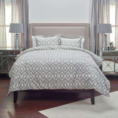 Natural/Taupe ikat Pattern 3-Piece Queen Bed Set