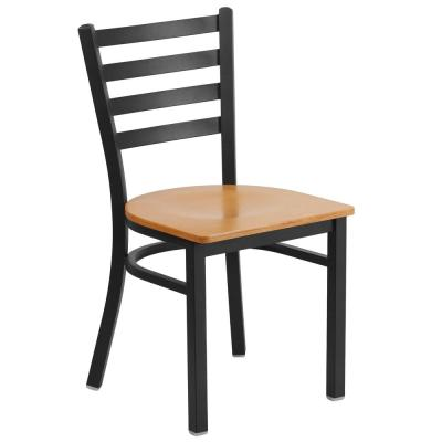 Hercules Series Black Ladder Back Metal Restaurant Chair with Natural Wood Seat