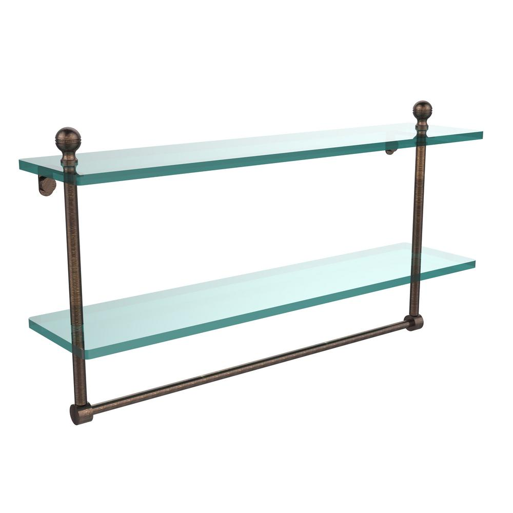 Allied Brass Mambo 22 in. L  x 12 in. H  x 5 in. W 2-Tier Clear Glass Bathroom Shelf with Towel Bar in Venetian Bronze