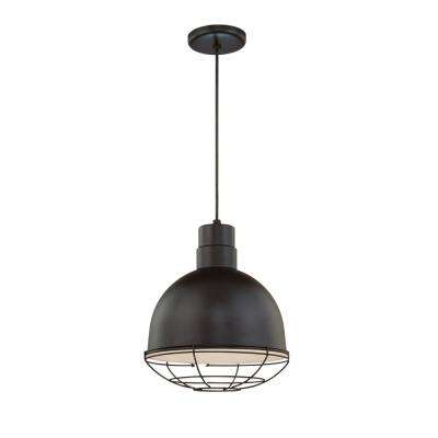 R Series 12 in. Wide 1-Light Satin Black Pendant