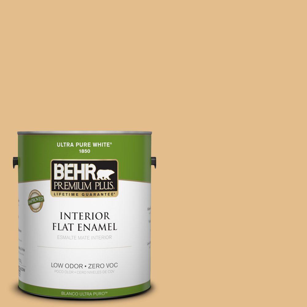BEHR Premium Plus 1-gal. #330D-4 Warm Muffin Zero VOC Flat Enamel Interior Paint-DISCONTINUED