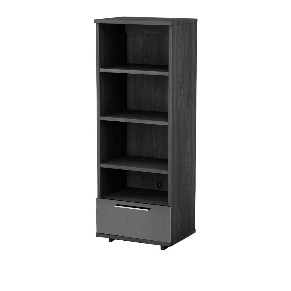 South Shore Reflekt 4-Shelf Bookcase in Gray Oak