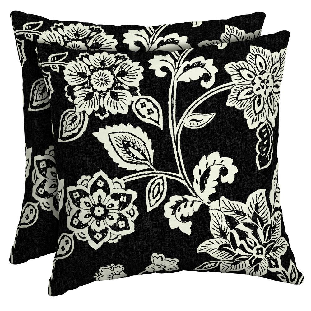 Arden Selections 16 x 16 Ashland Jacobean Square Outdoor Throw Pillow (2-Pack)