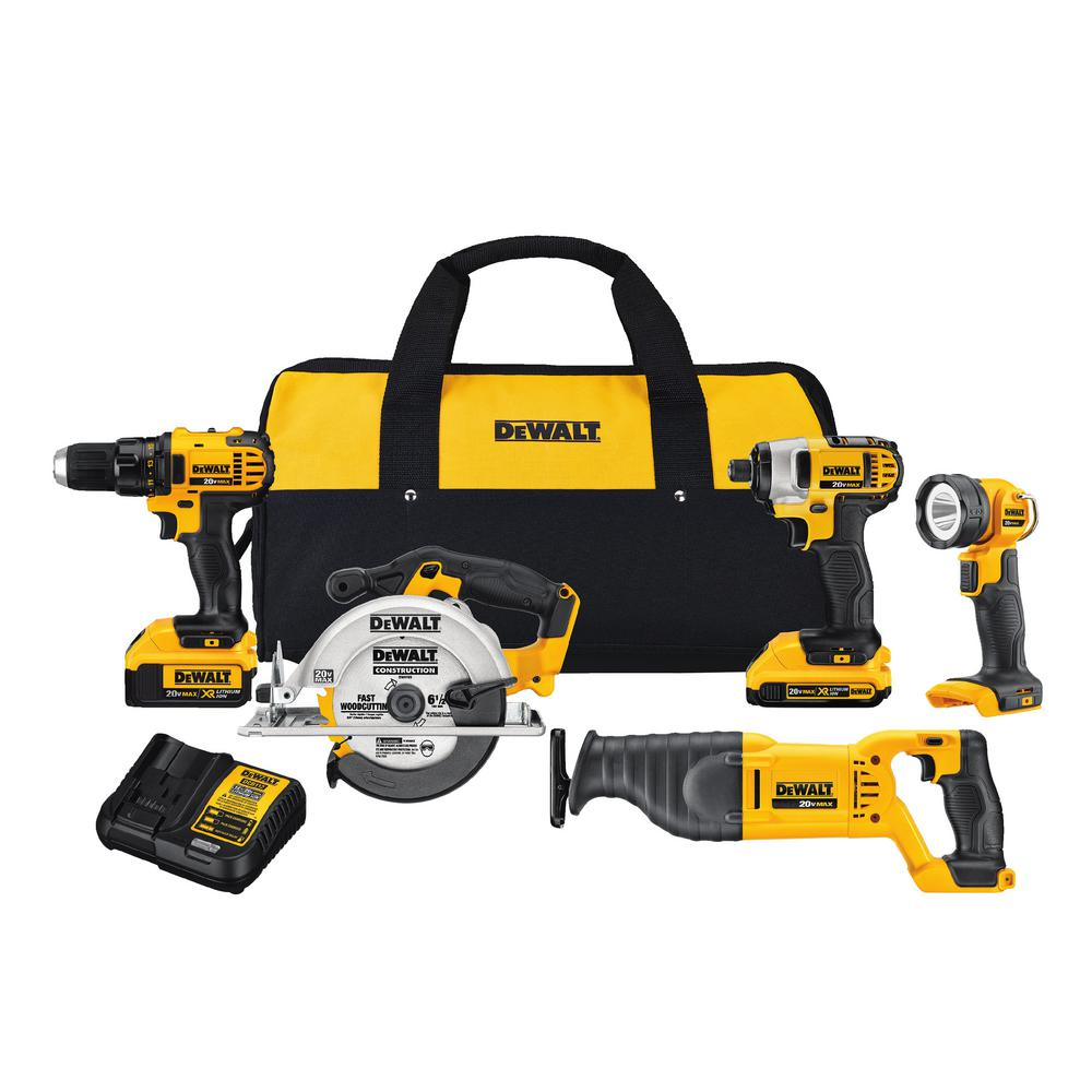 20-Volt MAX Lithium Ion Cordless Combo Kit (5-Tool) with 2Ah and