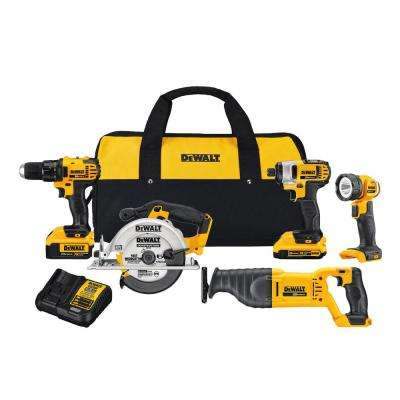 20-Volt MAX Lithium Ion Cordless Combo Kit (5-Tool) with 2Ah and 4Ah Batteries and Contractor Bag