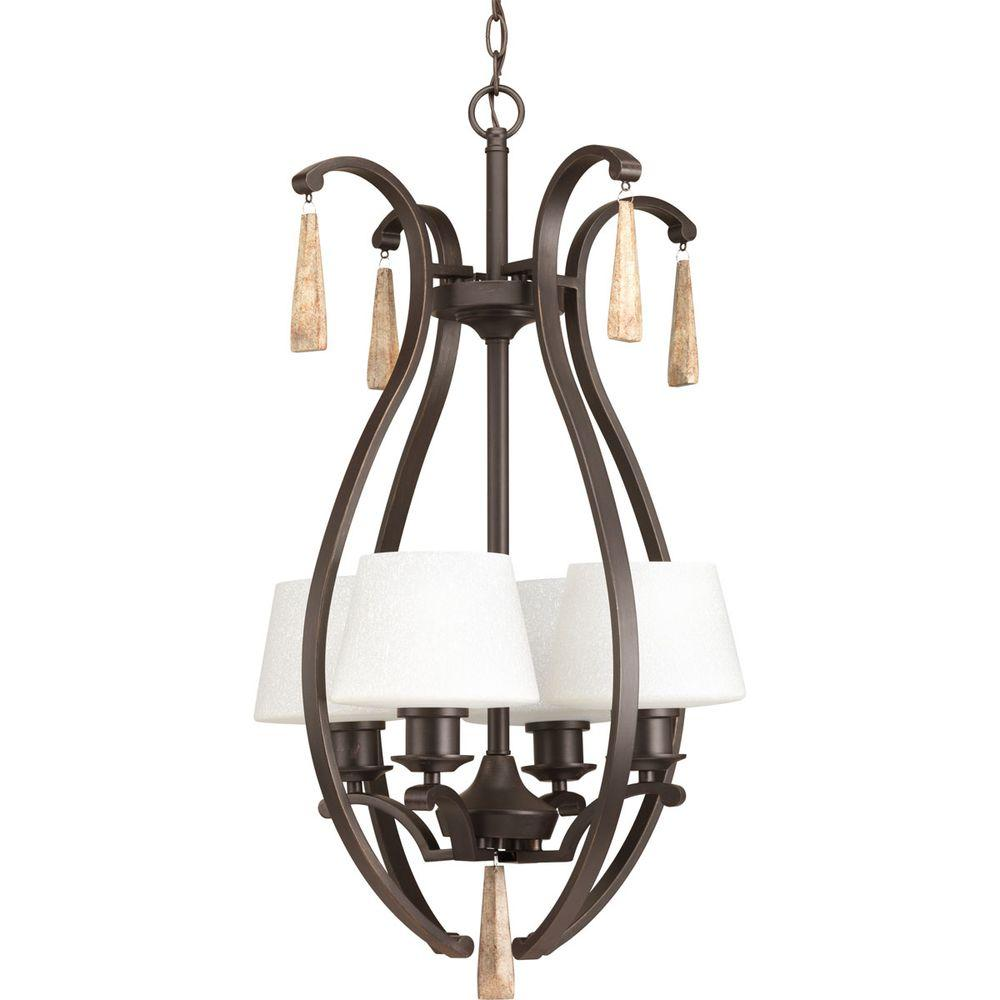 Club Collection 4-Light Antique Bronze Foyer Pendant with Tea-Stained Glass