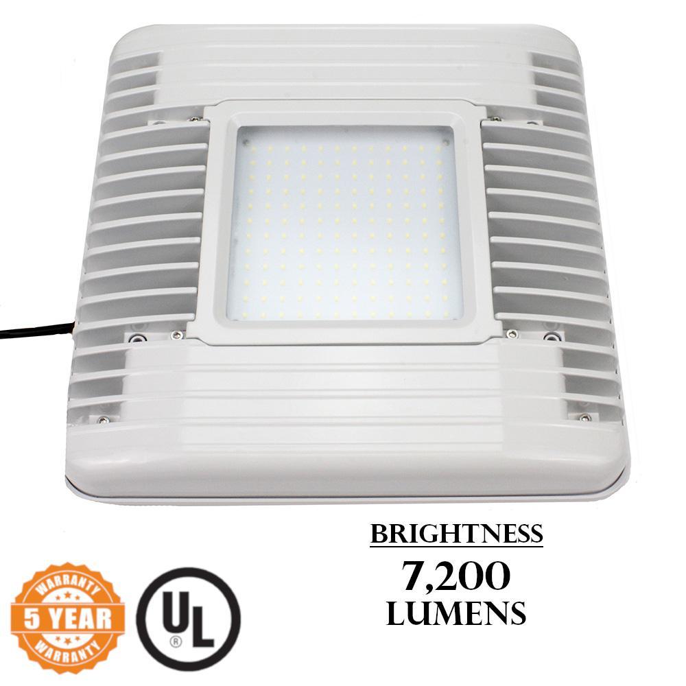 60-Watt White Integrated LED Flush Mount Canopy Light 7,200-Lumen 5000K CCT