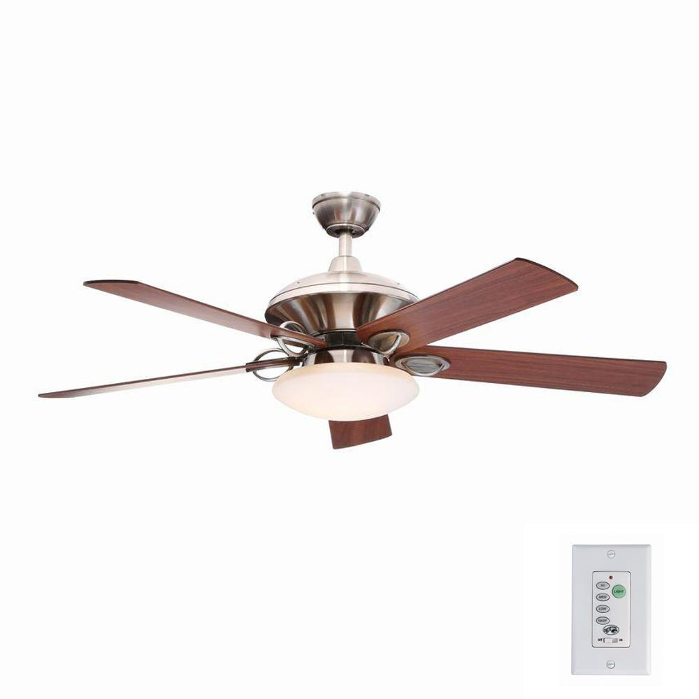 Hampton Bay Sauterne II 52 In. Indoor Brushed Nickel Ceiling Fan With Light  Kit And