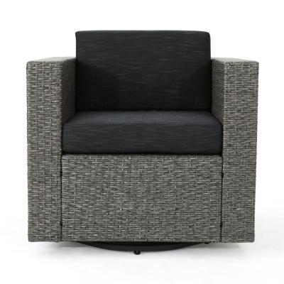 Puerta Mixed Black Swivel Metal Outdoor Lounge Chair with Dark Grey Cushion