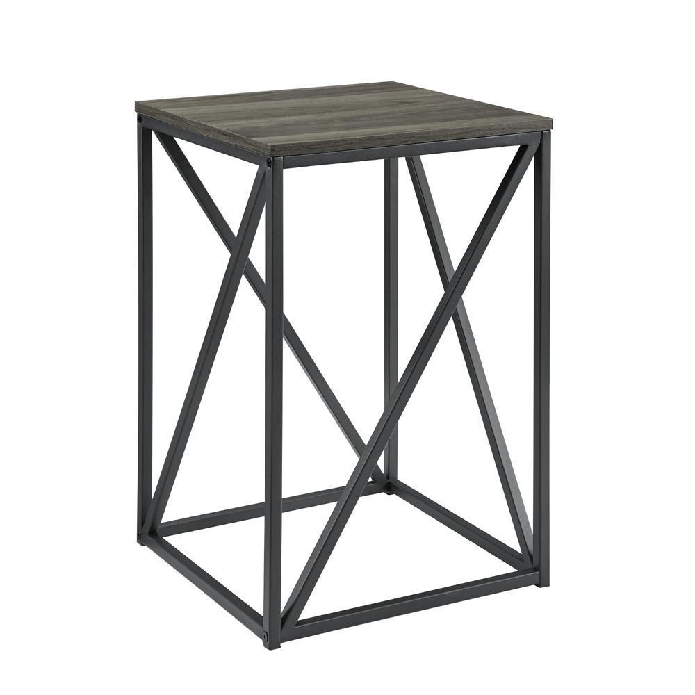 16 in. Slate Grey Modern Geometric Square Side Table