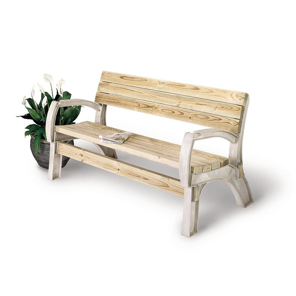 Wooden bench outdoor patio lawn chair furniture seat porch unfinished wood park