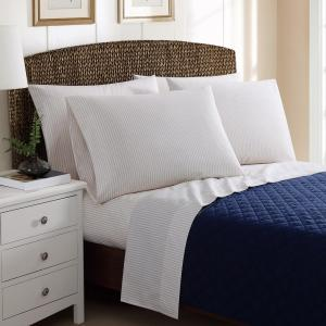 Click here to buy  4-Piece Printed Ticking Stripe Khaki Twin Sheet Sets.