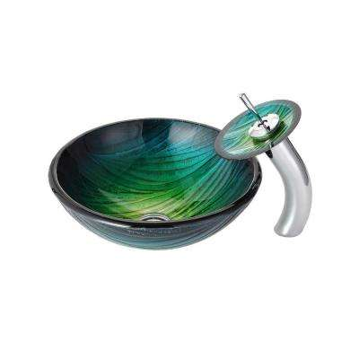 Nei Glass Vessel Sink in Green with Waterfall Faucet in Chrome