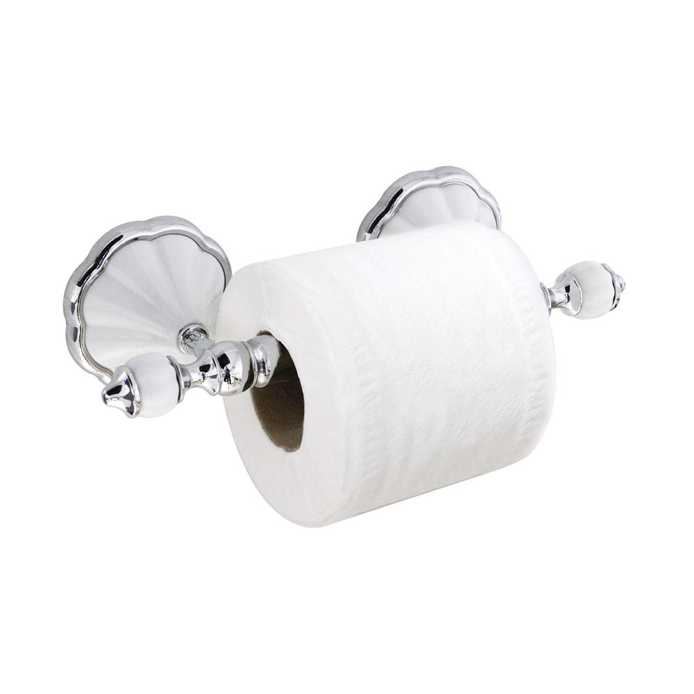 Modona Flora Toilet Paper Holder With Stainless Steel Roller In White Porcelain And Polished Chrome