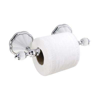 FLORA Toilet Paper Holder with Stainless Steel Roller in White Porcelain and Polished Chrome
