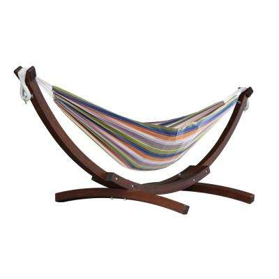 8 ft. Cotton Hammock with Wood Stand in Retro