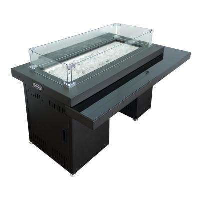 37 in. L x 23 in. W x 30 in. H 2-Tiered Metal and Glass Rectangle Fire Pit