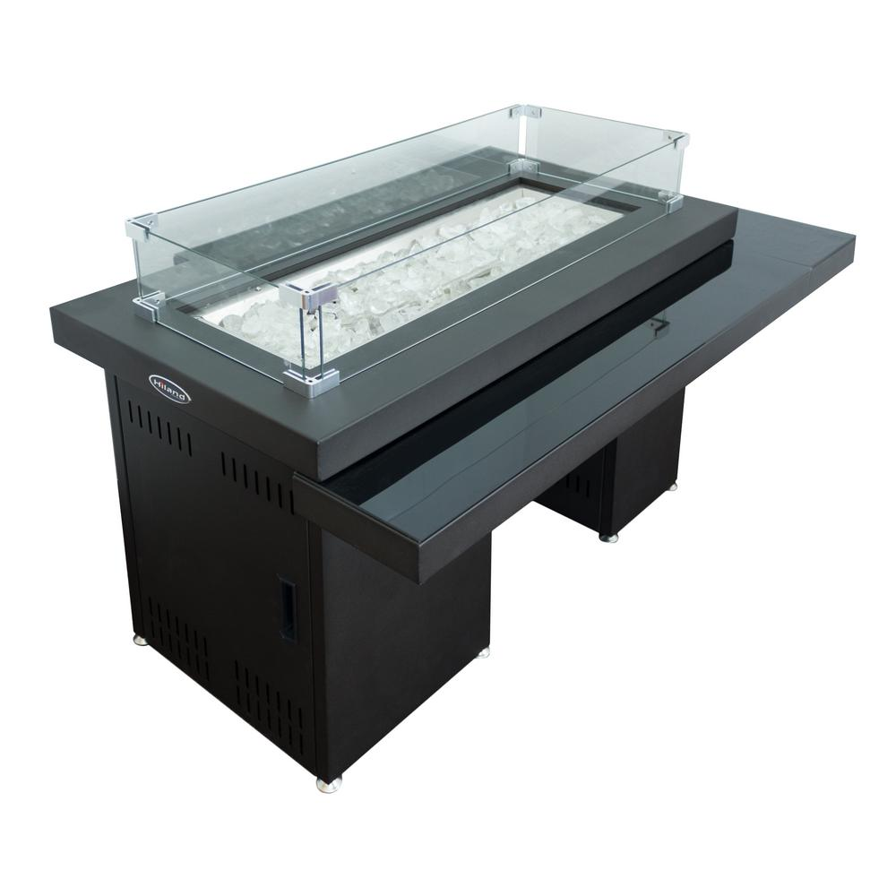 Hiland 52 in. L x 37.5 in. W x 26 in. H 2-Tiered Metal and Glass Rectangle Fire Pit in Dark Mocha