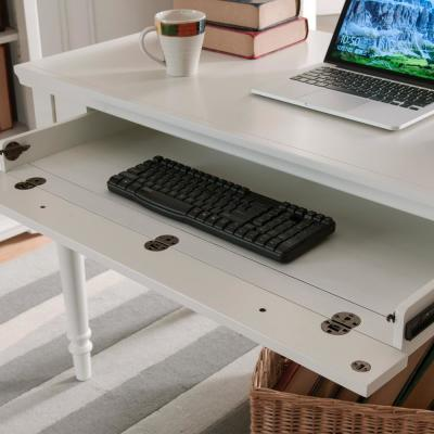 24 in. Rectangular White Writing Desks with Keyboard Tray