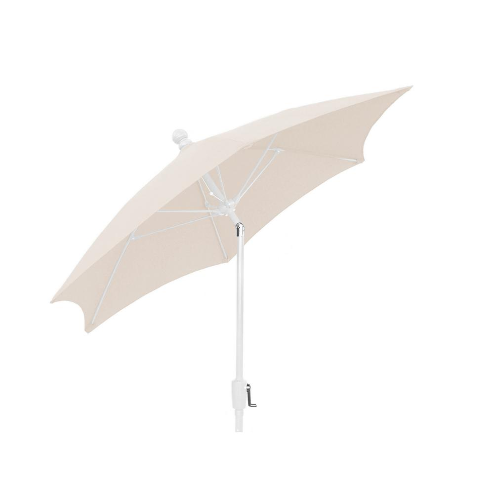 Patio Umbrella With 2 Piece White Pole Tilted And Natural Canopy