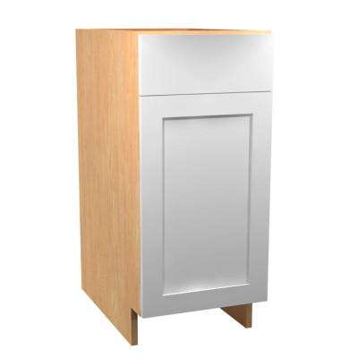 18x34.5x24 in. Elice Base Cabinet with Single 35 Qt. Waste Bin 1 Soft Close Door and 1 Soft Close Drawer in Polar White
