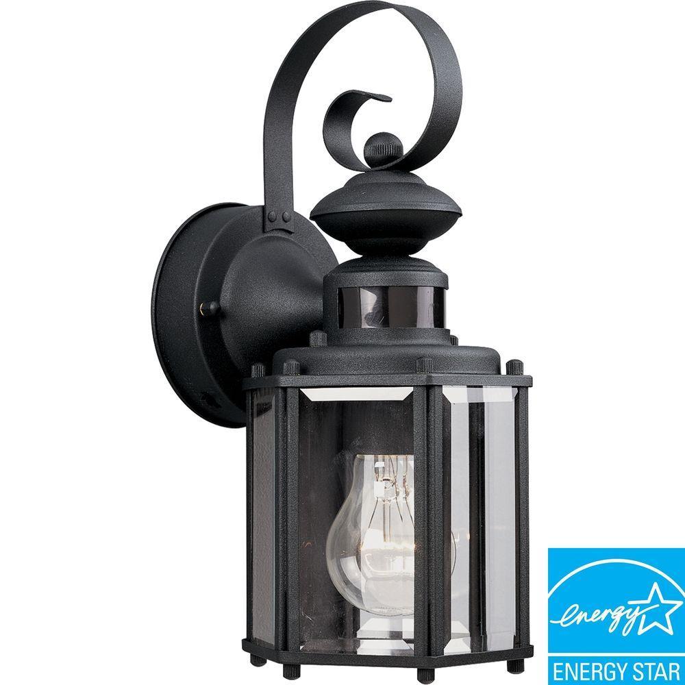 Motion Sensor Black Outdoor Wall Lantern