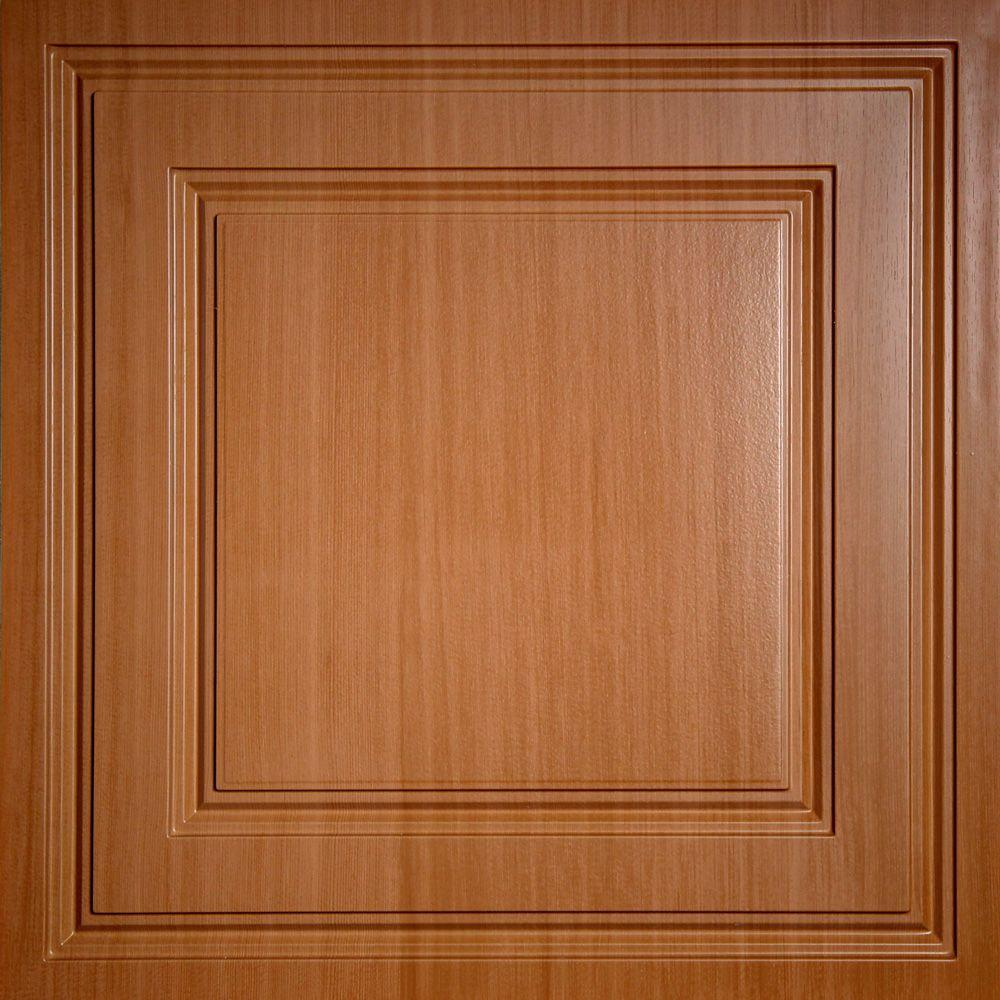 Oxford Faux Wood-Caramel 2 ft. x 2 ft. Lay-in Ceiling Panel