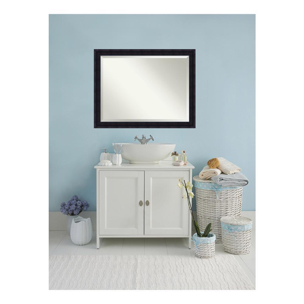 Annatto 45 in. W x 35 in. H Framed Rectangular Beveled Edge Bathroom Vanity Mirror in Mahogany