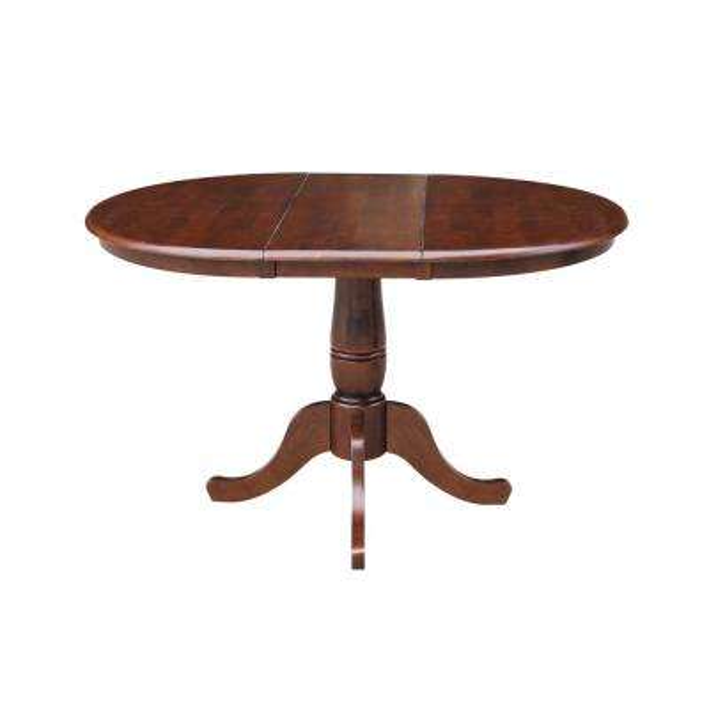 Espresso 36 in. x 36 in. x 48 in. Extension Laurel Pedestal Table