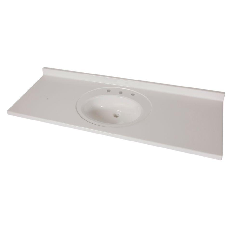 St. Paul 61 in. x 22 in. AB Engineered Technology Vanity Top in White