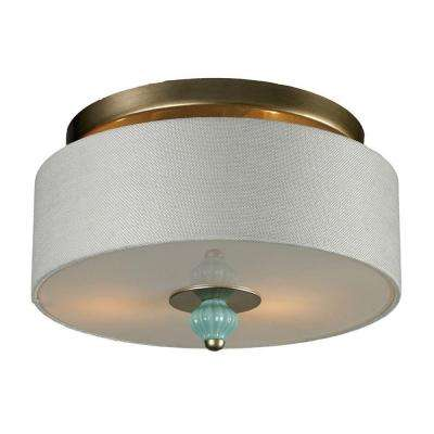 Lilliana 2-Light Seafoam and Aged Silver Ceiling Sconce