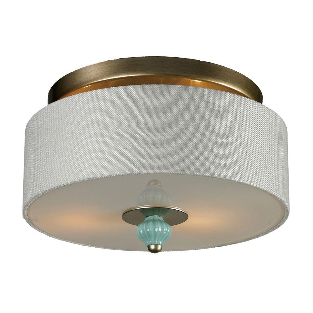 Titan Lighting Lilliana 2-Light Seafoam and Aged Silver Ceiling Sconce