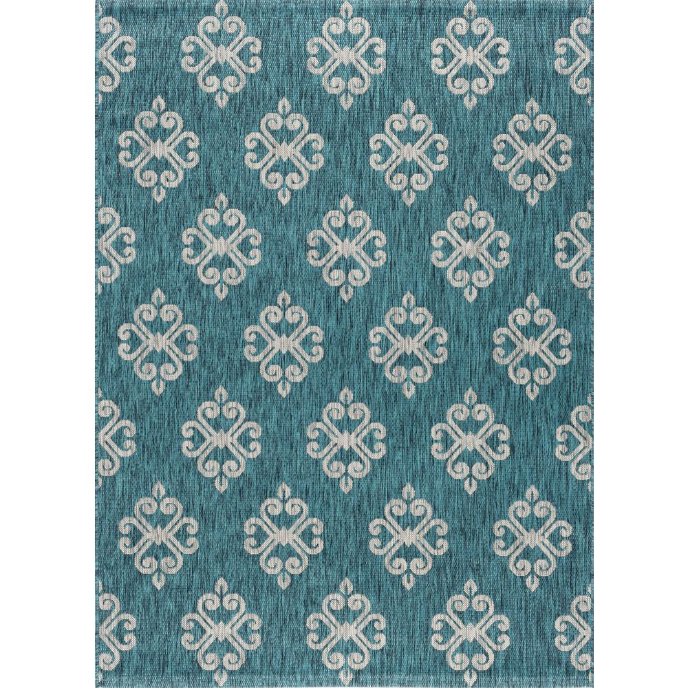 Outdoor Rug 7 X 10: Tayse Rugs Veranda Teal 7 Ft. 10 In. X 10 Ft. 3 In. Indoor